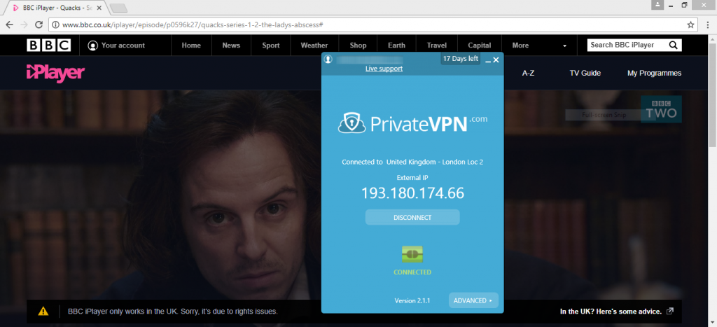 privatevpn bbc iplayer
